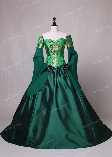 green fancy theatrical victorian dress   roseblooming