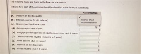 Solved: The Following Items Are Found In The Financial Sta ...