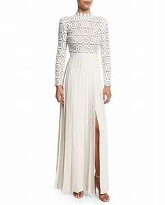 self portrait long sleeve lace crepe dress off white With self portrait robe