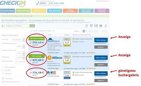 kfz versicherung check24 kfz versicherung vergleich g 252 nstige autoversicherung