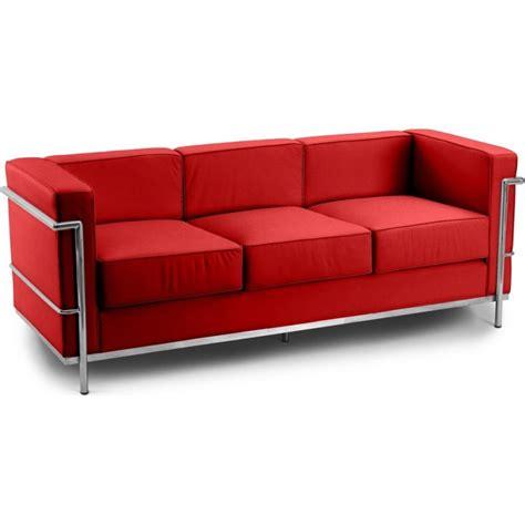 le corbusier canapé canapé 3 places cuir inspiré lc2 le corbusier