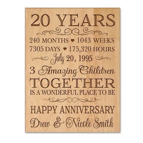20 year anniversary gift personalized 20th anniversary gift for him 20 year wedding anniversary gift for her special date