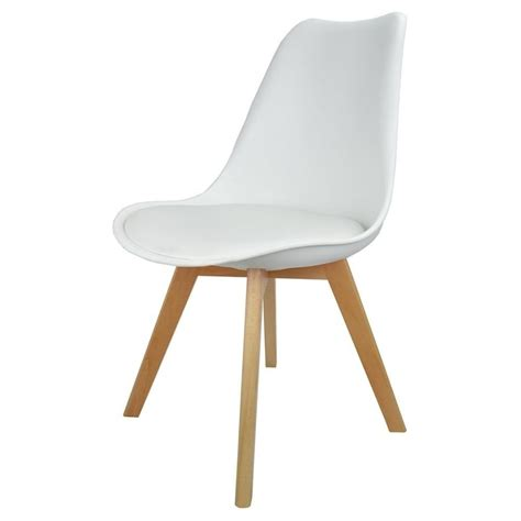 white plastic and faux leather dining chair from fusion living