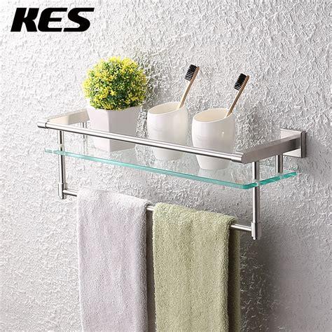 bathroom shelf with towel bar aliexpress buy kes a2225 2 sus304 stainless steel