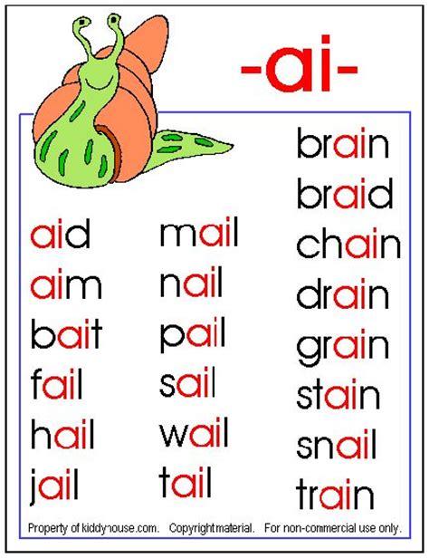 ai words  images english phonics phonics chart