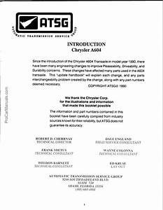 Chrysler A604 Transmission Repair Manual  U2013 Atsg  Automatic