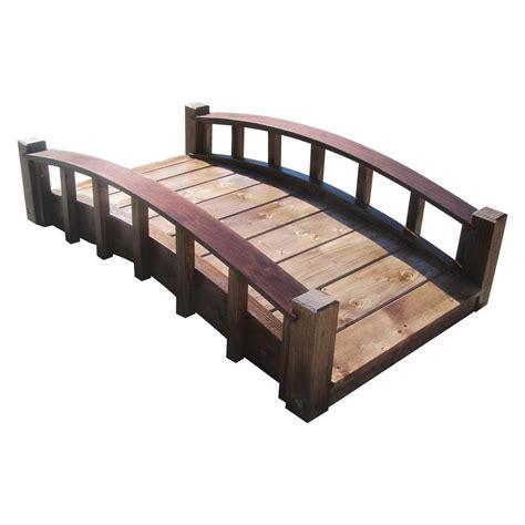 wooden garden products samsgazebos 4 ft japanese wood garden moon bridge with arched railings treated moon bridge j4