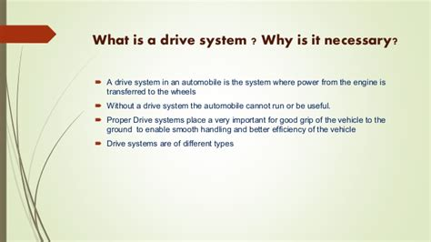 Automobile- Drive Systems