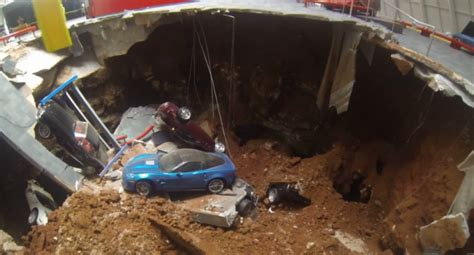 Corvette Museum Sinkhole Dirt by Drone Helicopter Used To Fly Into Corvette Museum Sinkhole