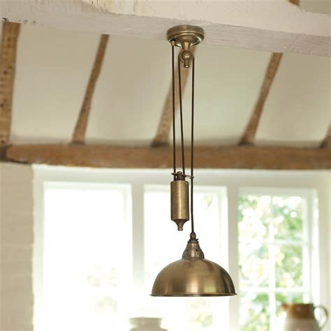 Butler Rise and Fall Kitchen Pendant Light   Antique Brass