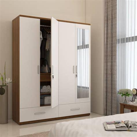 Bedroom Mirrors India by Furnwish Engineered Wood 4 Door Cupboard Finish