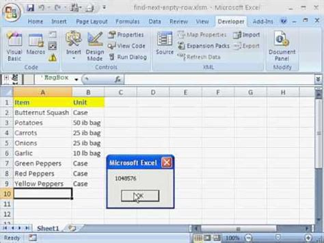 find next empty row for data entry using excel vba youtube