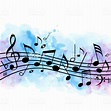 Music Background With Notes And Blue Watercolor Texture ...