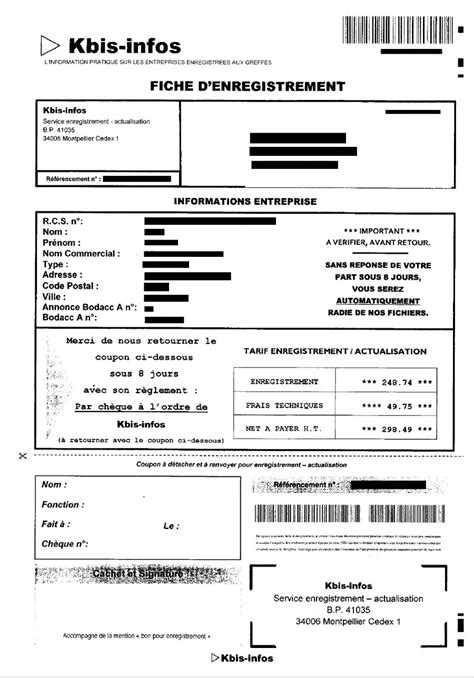 Modification Kbis Auto Entrepreneur by Arnaque Par Courrier Kbis Infos Infogreffe
