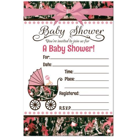 realtree camo pink baby shower invitation invitation samples