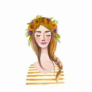 Yellow Flower crown girl Print of watercolor painting. Braid