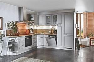 Landhaus l kuche grau arizona pine 3333 nur die kuechen for Landhausküche grau