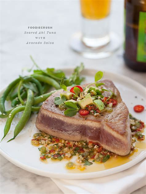 seared ahi tuna  asian avocado salsa foodiecrush