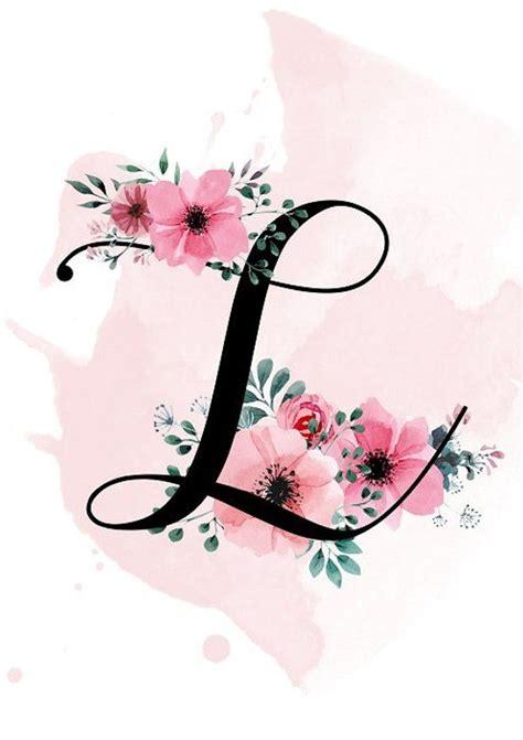 personalized letter print printable  monogram print nursery decor custom flower letter