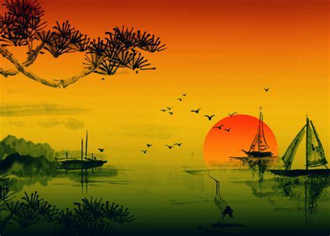 Asiatische Bilder Kunst by Japanese Sunset Free Stock Photo Domain Pictures