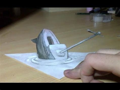 How To Draw A 3d Boat On Paper by Drawing 3d Anamorphic Illusion The Boat