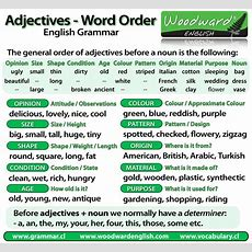 Word Order Of Adjectives Before A Noun  English Grammar  English Grammar Pinterest