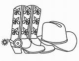 Cowboy Coloring Printable Hat Boots Sheets Birthday Coloring2print sketch template
