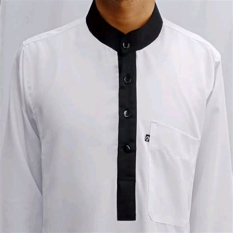 jual baju muslim jubah gamis pria saudi warna putih list hitam termurah di lapak naf koleksi naf