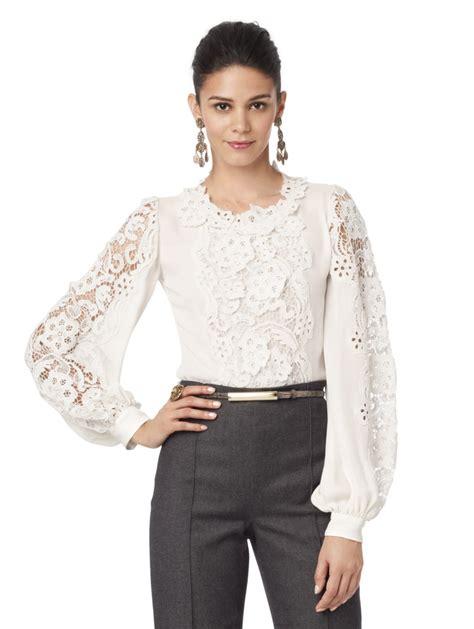 sleeve blouses for oscar de la renta sleeve lace blouse in lyst