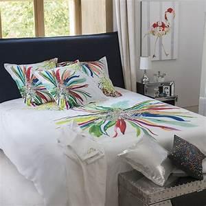 Housse De Couette Colorée : housse de couette percale blanc motif floral imprim multicolore ~ Teatrodelosmanantiales.com Idées de Décoration