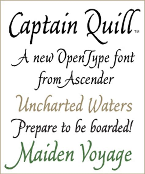 captain quill font introduced  ascender corp