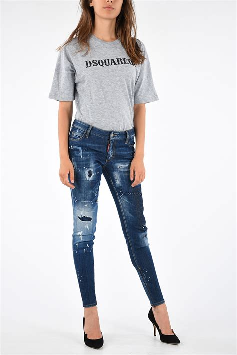 Dsquared2 11cm Printed and Distressed SUPER SKINNY Jeans ...