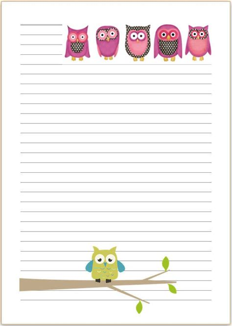 cute owl letter writing paper    stationary