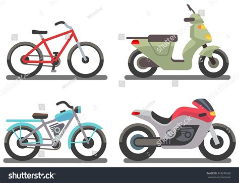 Bike Motorbike Vector Illustration Set Ride Stock Vector
