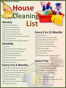 House cleaning list template - Free Formats Excel Word