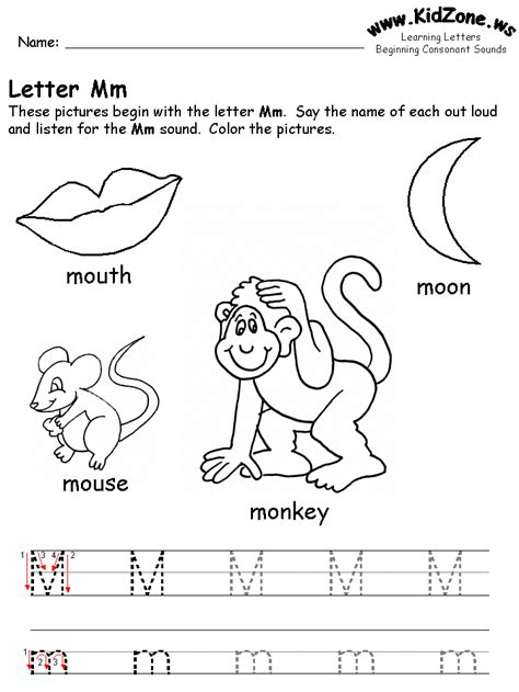 beginning consonant sound worksheets 411 | m