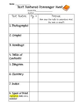 text features scavenger hunt by nkeri teachers pay teachers