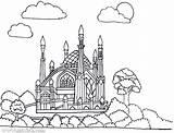 Coloring Mosque Masjid Mewarnai Islam Muslim Belajar Batam Pemata Yayasan Template sketch template