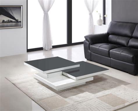 meuble de rangement bureau pas cher table basse pivotante laquee blanc et verre gris