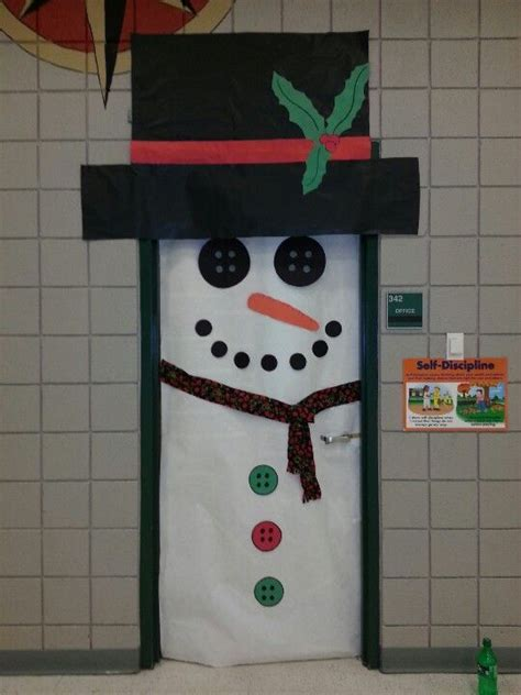 classroom door decore idea frosty the snowman