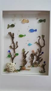 Sea glass art framed sea glass bathroom wall decor costal