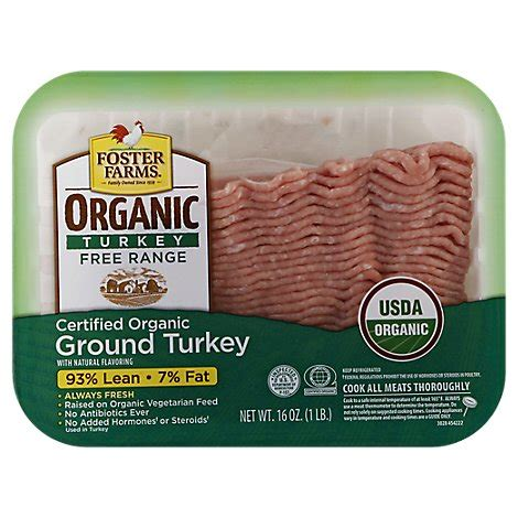 * see nutrition information for cholesterol content. Foster Farms Organic Ground Turkey 93% Lean 7 % Fat - 16 ...