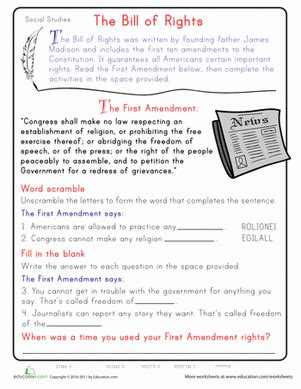 Learn The First Amendment  Worksheet Educationcom