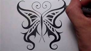 Drawing a Cool Tribal Butterfly Tattoo Design - YouTube