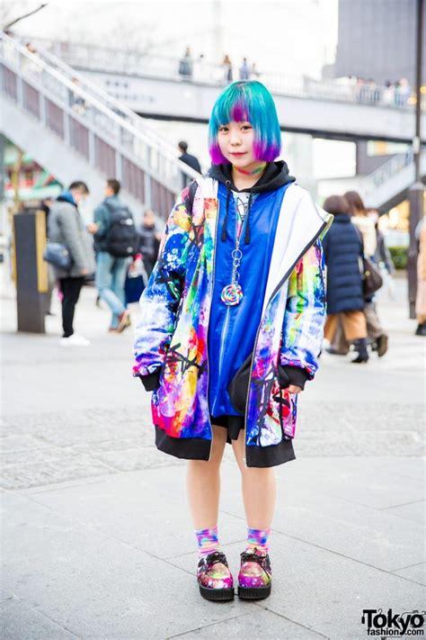 super colorful harajuku street style w ankorock gekirock clothing acdc rag