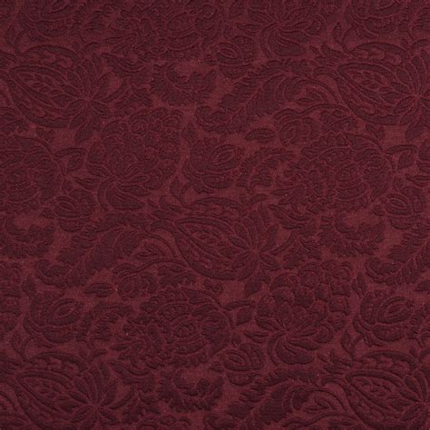 Brocade Upholstery Fabric by Wine Burgundy Garden Foliage Woven Flower Brocade