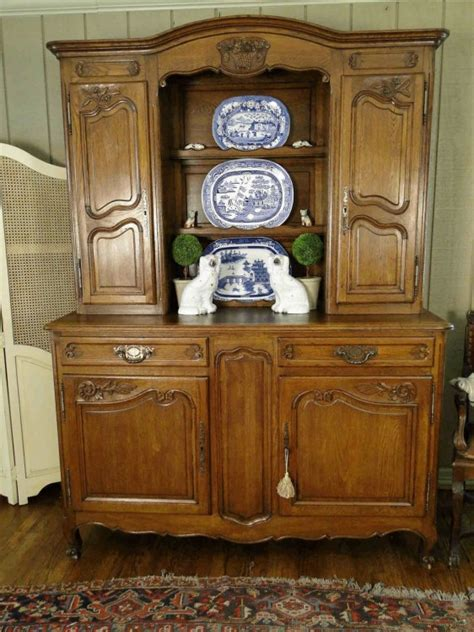 antique french country buffet hutch server sideboard plate rack solid carved oak ebay