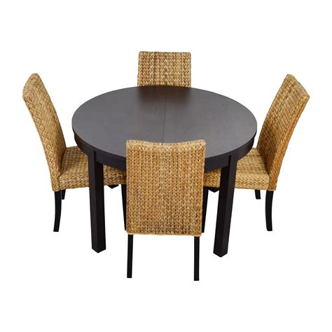 round dining table for 4 66 off macy 39 s ikea round black dining table set with