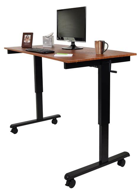 hand crank standing desk luxor 60 quot hand crank adjustable stand up desk notsitting com