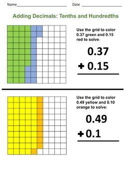 adding decimals tenths  hundredths  level